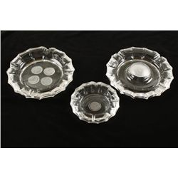 Lot of (3) Coin Glass Ashtrays