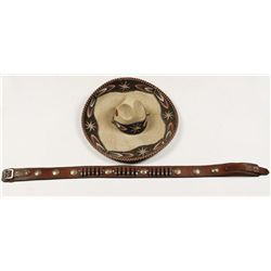 Mexican Cartridge Belt and Sombrero
