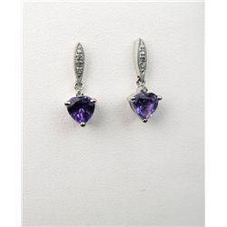 Classy Heart Shaped Amethyst Dangle Earrings