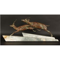 Art Deco Water Buck and Impala Statue