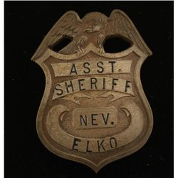 Old West Elko Nevada Assistant Sheriff Badge