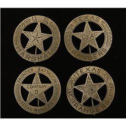 (4) Old West Texas Rangers Cowboy Era Law Badges