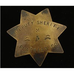 Old West Flathead Co Deputy Sheriff #5 Badge