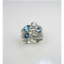 Bold Contemporary Blue Topaz & White Quartz Ring
