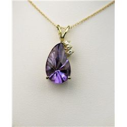 Pretty Pear Shaped Amethyst and Diamond Pendant