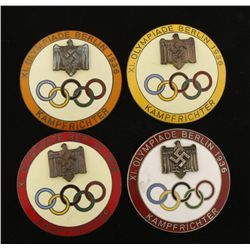 (4) German WWII 1936 Berlin Olympic Starter Badges