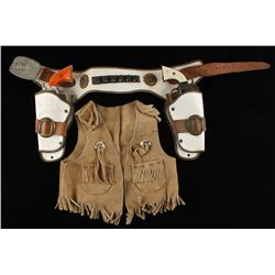 Vintage Child's Double Holster Rig with Cap Guns