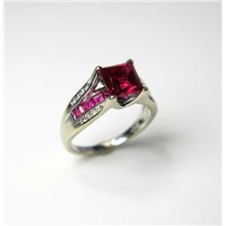Fashionable Princess Cut Ruby and Diamond Ring