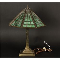Brass Lamp With Green Stained Glass Shade