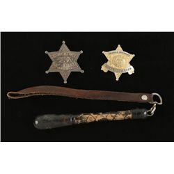 Lot of (2) Badges and Lawman's Sap