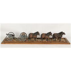 War Horses Pulling a Canon Diorama