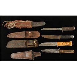 Lot of (4) Older Hunting Knives