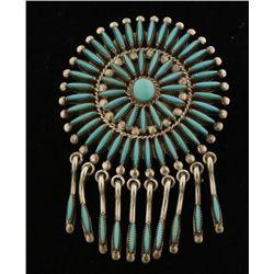 Sunburst Pin/Pendant by Zuni Artist Evans Waatsa