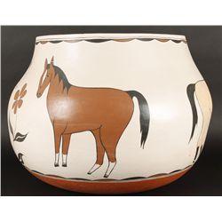 Large Santo Domingo Horse Pot