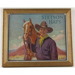 Original Lithograph Stetson Hats Advertiser