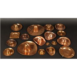Collection of (18) Copper Hats and Ashtrays