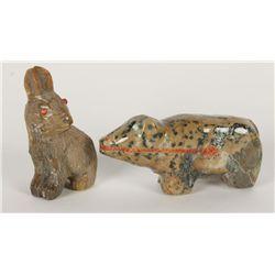 (2) Stone Carved Animal Figurines