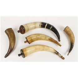 (5) Antique Black Powder Horns
