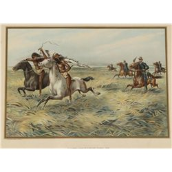 Lithograph of U.S. Cavalry Pursuing Indians