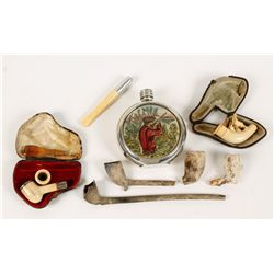 Lot of Antique Pipes and Flask