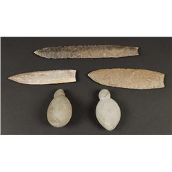 (3) Stone Points and (2) Stone Weights