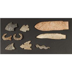 Collection of Arrow Heads, Fishhooks and More