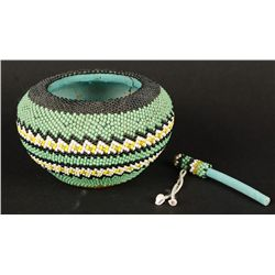 Paiute Beaded Pottery Bowl