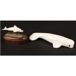 (2) Carved Walrus Ivory Figurines