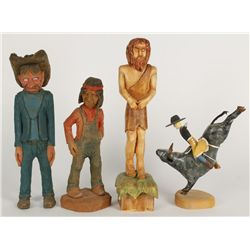 Collection of (4) Wood Carvings