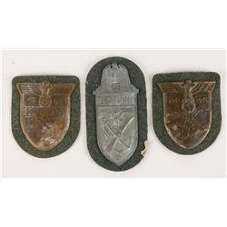 (3) German WWII Army Sleeve Shields