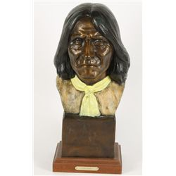 """Colored Bronze Bust """"Geronimo"""""""