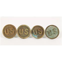 (2) Pair Civil War Brass Bit Medallions