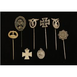 German WWII Miniature Stick Pin & Badge Collection