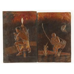 Lot of (2) Hand Embossed Copper Art Pieces
