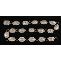 Silver Concho Belt with Coral Inlays