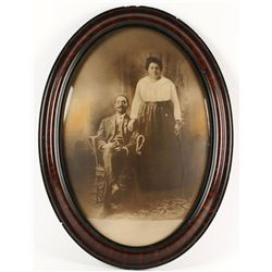 Antique Black and White Photo of Man and Wife