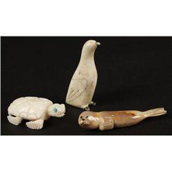(3) Hand Carved Ivory Animal Figurines