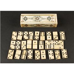 Miniature Carved Bone Domino Set
