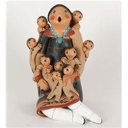 Jemez Pueblo Storyteller with 9 Babies