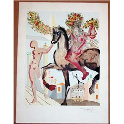 Salvador Dali, The Flowered Horseman, Signed Print