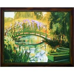 Michele Byrne, Monets Japanese Bridge, Framed Canvas Print