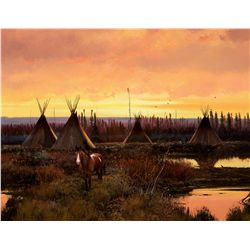 Indian Encampment at Dusk by Coleman, Michael