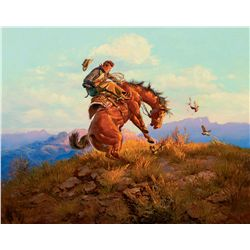 Cowboy in a Storm, Bustin' a Covey by Phippen, George