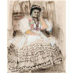 Sketch of Noula Kararas by Gaspard, Leon