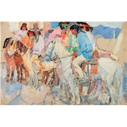 Jicarilla Indians on Horseback by Gaspard, Leon