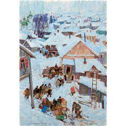 Winter Scene of a Village by Gaspard, Leon
