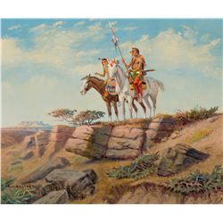 Two Warriors on Horseback by Seltzer, Olaf C.