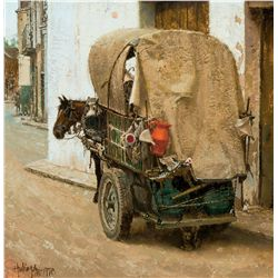 Mule and Cart with Red Pitcher by Hulings, Clark