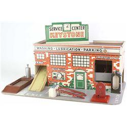 Vintage toy Keystone Service Center Gas Station