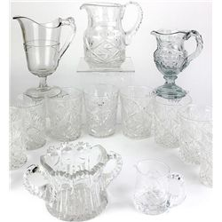 Collection of 14 pcs cut and pressed clear glass